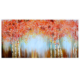 Picture of Hand Painted Contrasting Red Trees Canvas Art- 30x60 in.
