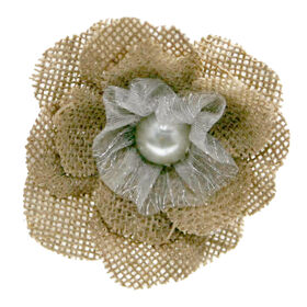 Picture of 4IN BURLAP FLOWER CLIP