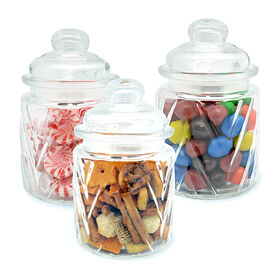 Picture of Round Textured Glass Jar - set of 3