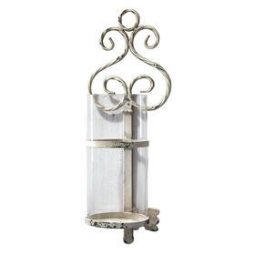Picture of Ivory Metal Key Wall Candle Holder 7x19-in