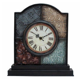 Picture of Patchwork Metal Tabletop Clock - 13 in.