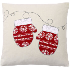 Picture of Mittens Christmas Pillow 18-in