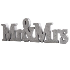Picture of Mr. and Mrs. Silver Glitter Sign- 14 in.