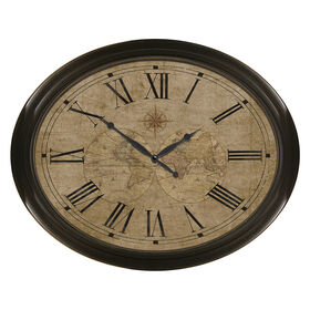 Picture of 30 X 24-in Bronze Oval Map Face Clock
