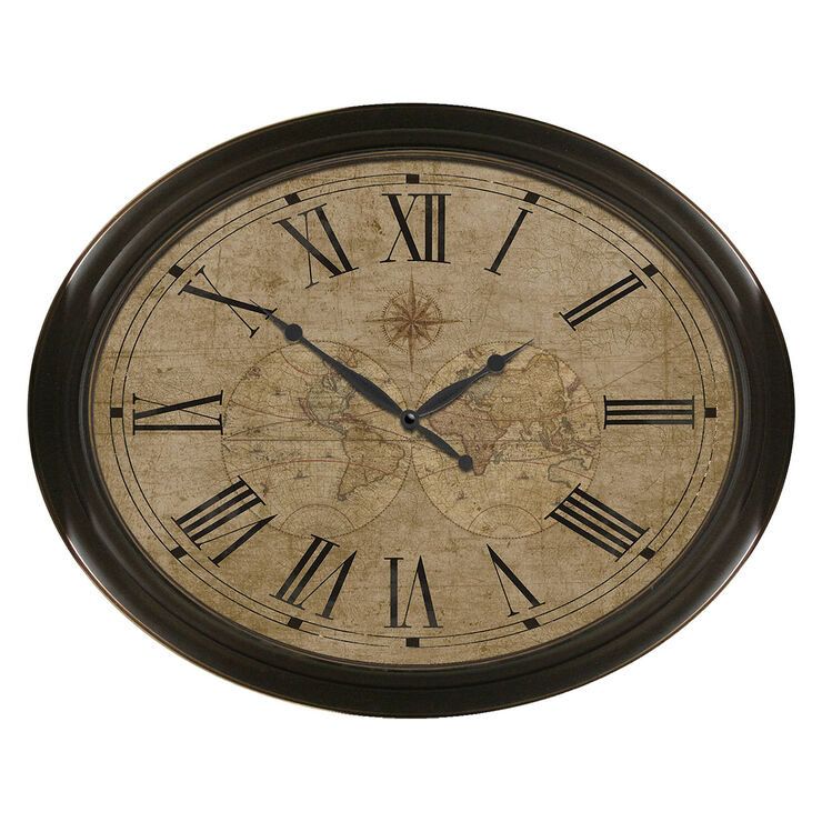 30 X 24-in Bronze Oval Map Face Clock