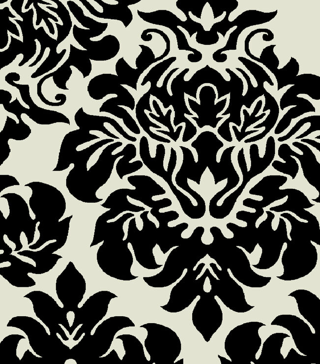 Black and White Damask Rug 7 X 10 ft