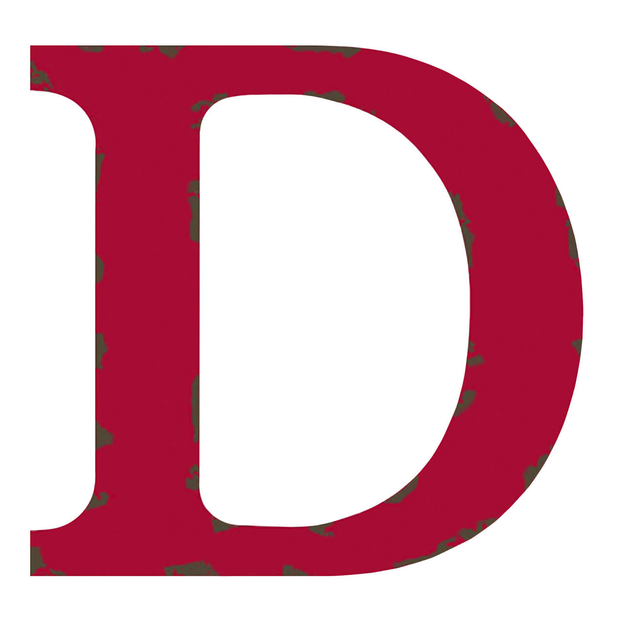 Distressed Red Letter D, 12-in. - At Home Red Letter D