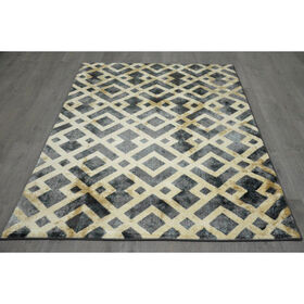 Picture of B305 Blue and Beige Geometric Rug