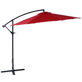 Picture of Offset Red Outdoor Umbrella- 10-ft