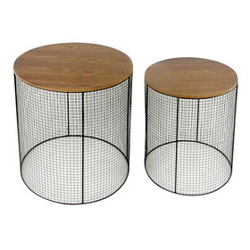 Picture of Large Metal Meshed Wood Top Plant Stand