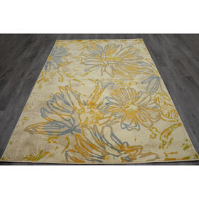 Picture of Blue and Cream Floral Luna Rug 5 X 7 ft