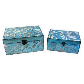 Picture of Large Blue and Silver Leaf Print Box (sold separately)