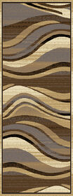 Picture of B134 Cream and Tan Wavy Line Rug
