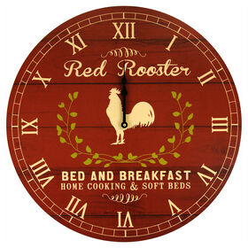Picture of SC 24D RED/CRM ROOSTER CLOCK