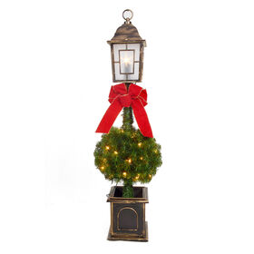Picture of 4-ft Pre-Lit Lamp Post Christmas Tree with 35 Clear Lights