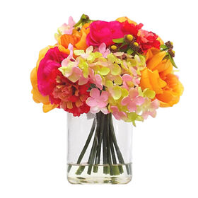Picture of Orange and Pink Camelia Hydrangeas in a Glass Vase
