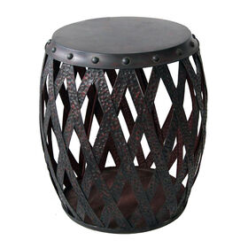 Picture of Dark Brown Metal Drum Table 15X25