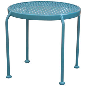 Round Teal Blue Stamped End Table- 18-in