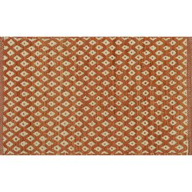 Picture of Natural and Orange Diamond Chindi Accent Rug 24 X 36-in