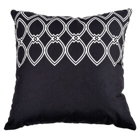 Picture of Black and White Outline Petals Pillow- 18 in.