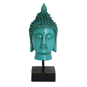 Picture of Teal Blue Buddha Head on Pedestal