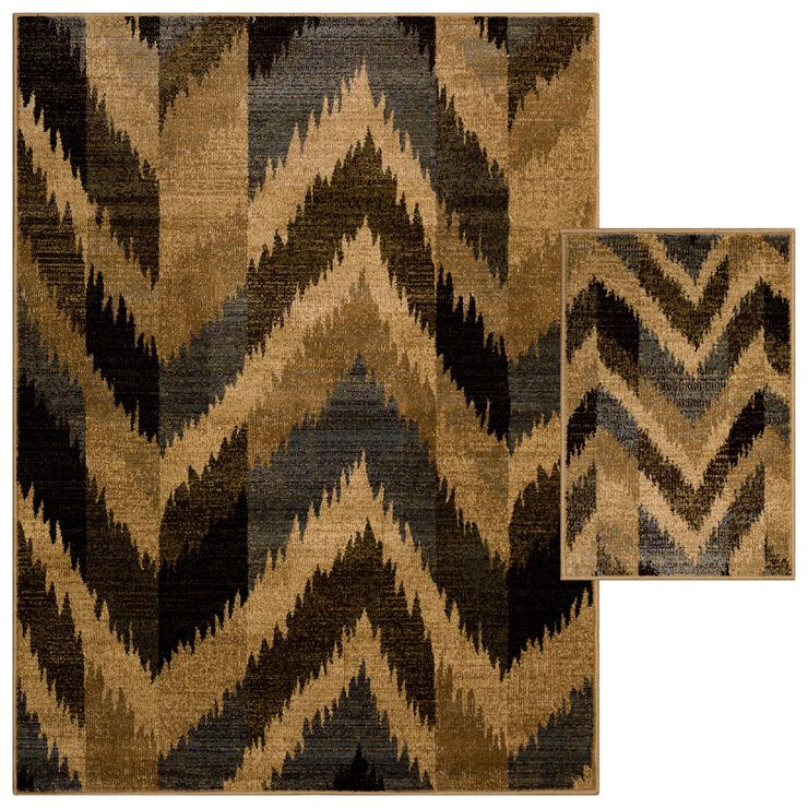 Blue Chevron 2 pc Woven Rug Set