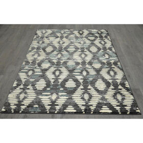 Picture of B306 Ivory and Grey Diamond Rug