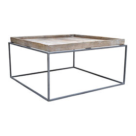 Square Mango Wood and Iron Coffee Table