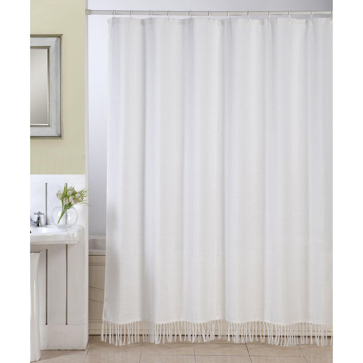 White Linen Fringe Shower Curtain - At Home