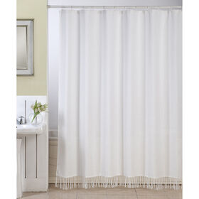 White Linen Fringe Shower Curtain