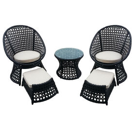 Picture of Vienna 5 Piece Wicker Chair and Ottoman Set