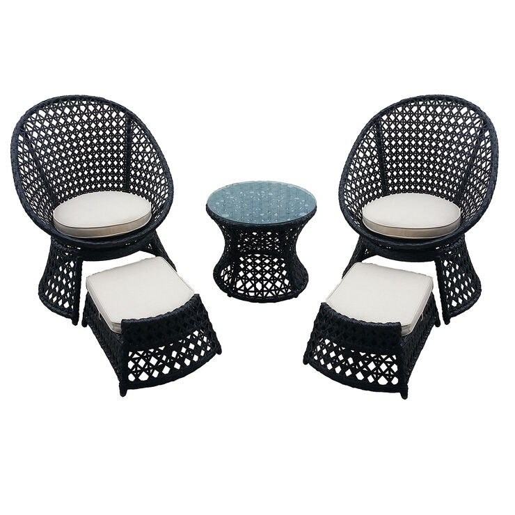 Vienna 5 Piece Wicker Chair and Ottoman Set