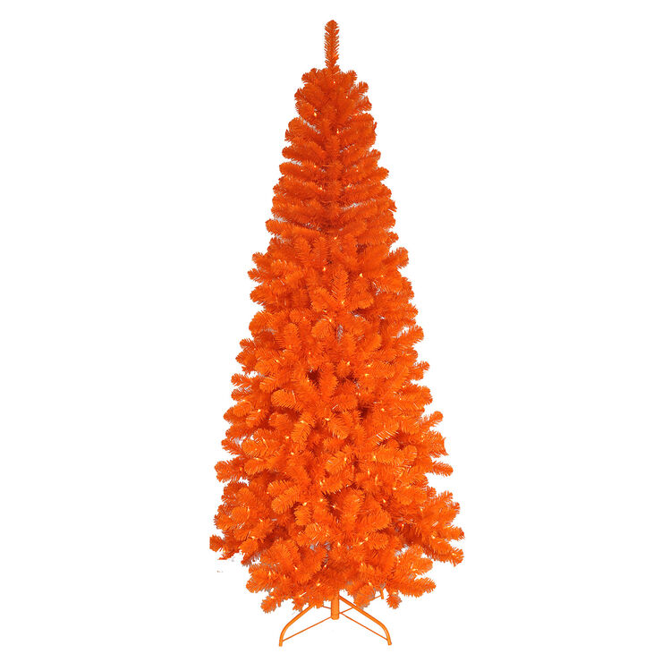 orange christmas tree s11 7 ft pre lit orange tree with 350 clear 12223