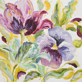 Picture of 24 X 24-in Pink, Green, Yellow, White and Purple Flower Studio Art
