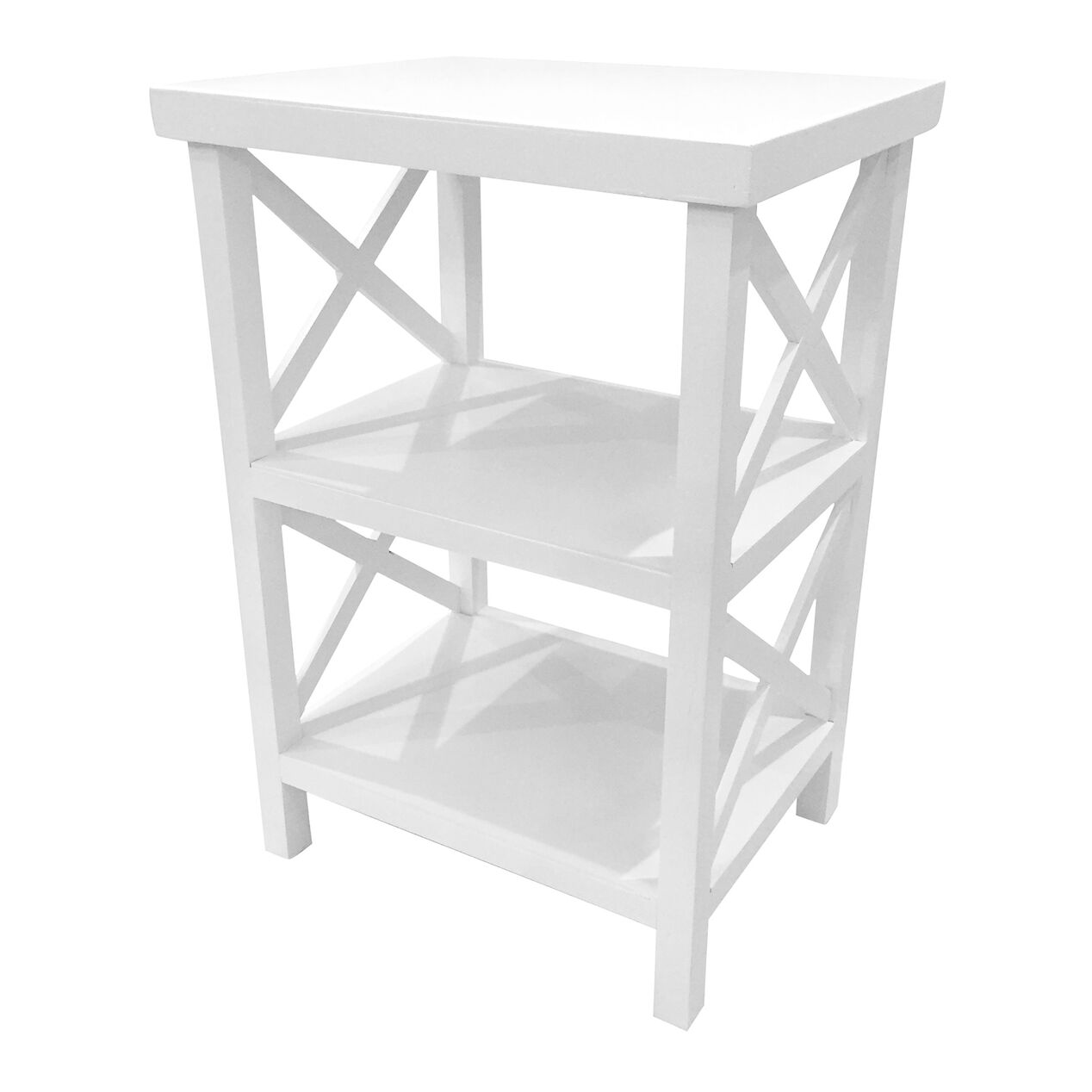 White wood x side shelves 25 in at home for White side table