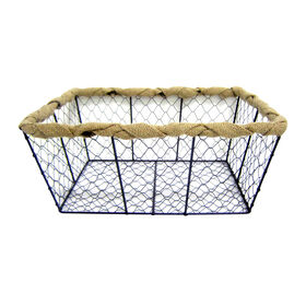 Picture of Large Chicken Wire Basket with Burlap Wrap