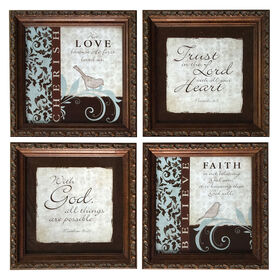 Picture of 6 X 6-in Blue and Brown Cherish and Laugh Accent Art- 4 Pack