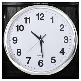 Picture of 12-in Clean Silver Clock with White Face