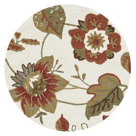 Picture of Layla Ivory Floral Round Accent Rug- 3 ft