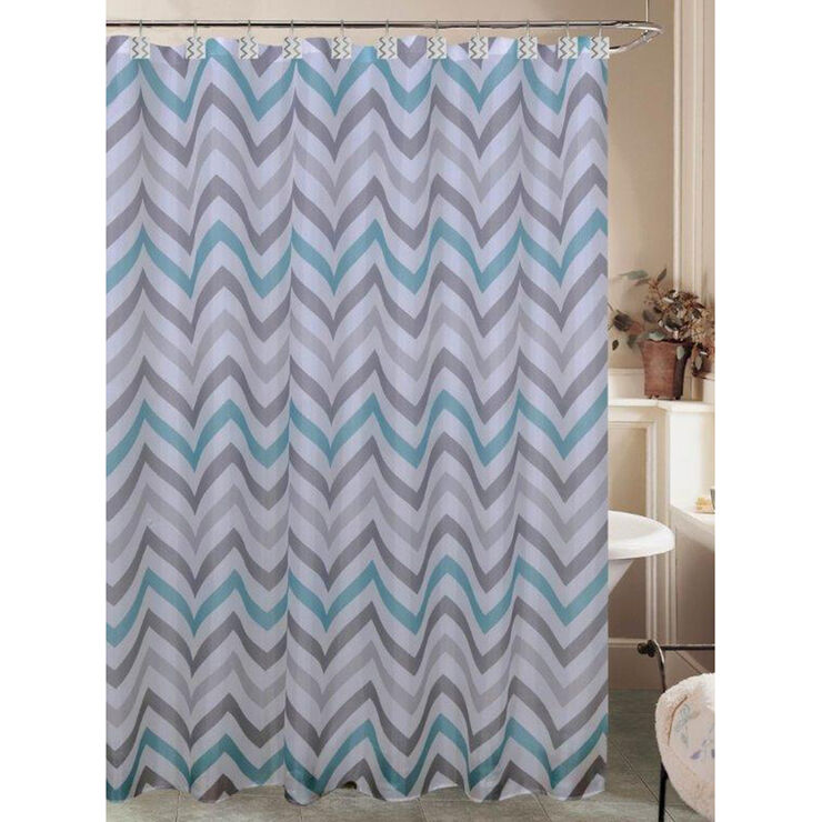casey teal and gray chevron shower curtain at home. Black Bedroom Furniture Sets. Home Design Ideas