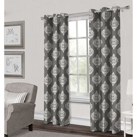 Picture of Damask Textured Grommet Curtain Panel- Gray 96-in