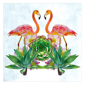Picture of Two Flamingos Canvas Wall Art- 18x18 in.