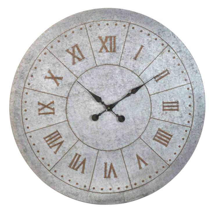 42-in Galvanized Antique Clock