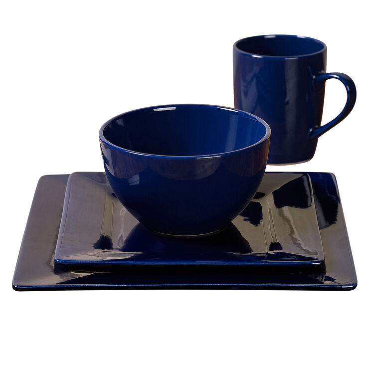 16-Piece Square Ceramic Dinnerware Set, Cobalt Blue