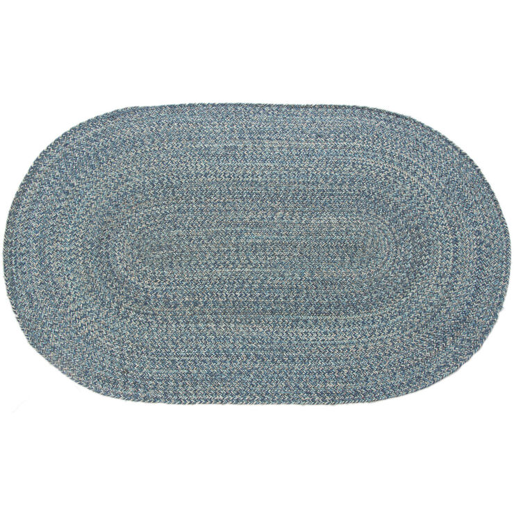 Blue Braided Oval Accent Rug