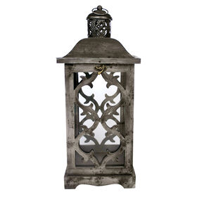 Picture of Silver Metal Lantern with Wood & Glass- 21-in