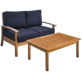 Picture of Kingston 2 Piece Wood Settee and Coffee Table Set