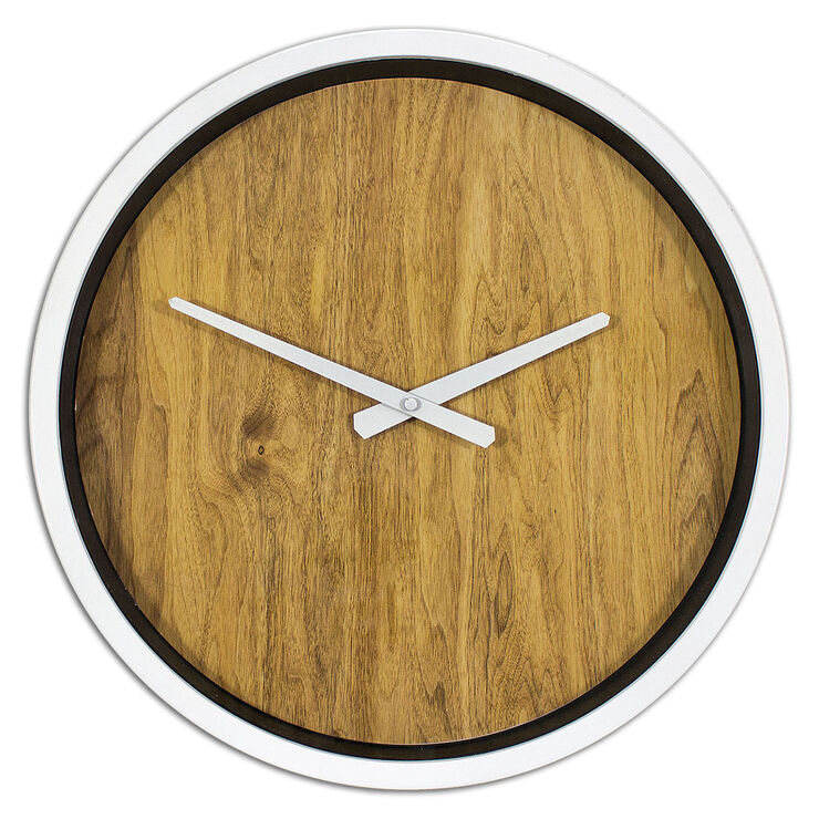 White Edge Wood Face Clock - 16 in.