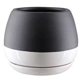 Ceramic Pot- Black & White 6-in