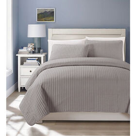 Picture of Ash Gray Matte Satin Coverlet Queen